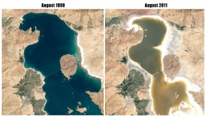 Lake Orumieh in August 1998 and 2011